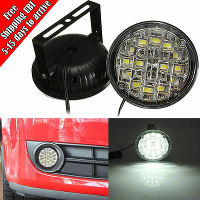 2x White 12V 18 LED Round Daytime Running Light DRL Car Fog Day Driving Lamp New