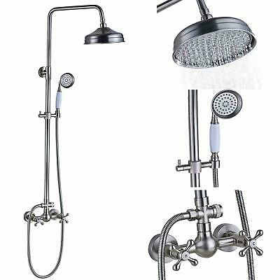 Brushed Nickel Wall Mount Dual Handles Shower Faucet Set Mixer Hand Shower Spray