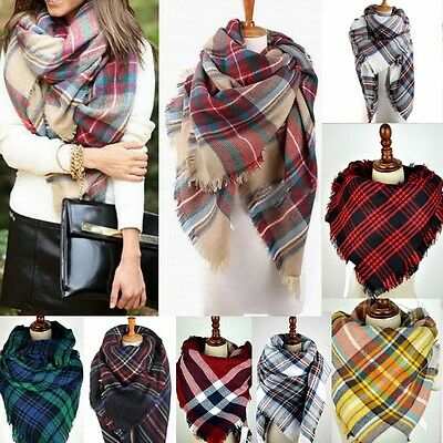Women Blanket Oversized Tartan Scarf Wrap Shawl Stole Plaid Checked Pashmina