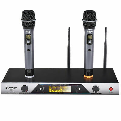New Audio 2x200 Channel UHF Wireless Hand Held Microphone Mic System LCD Display