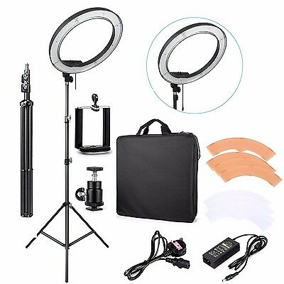 "ES240 18"" 5500K Dimmable LED Adjustable Ring Light with Diffuser, light stand"