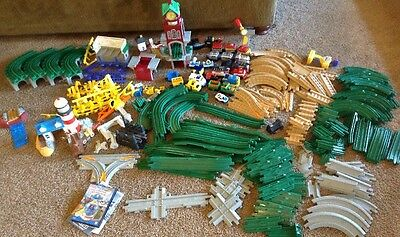 Geotrax 215 piece Lot Remote Control Trains Lots Of Buildings Tracks 40 pounds~