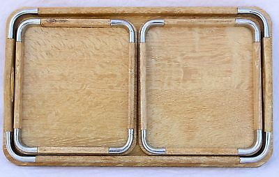 Set of 3 White Oak & Chrome Nesting Trays by Giftcraft Midcentury Look