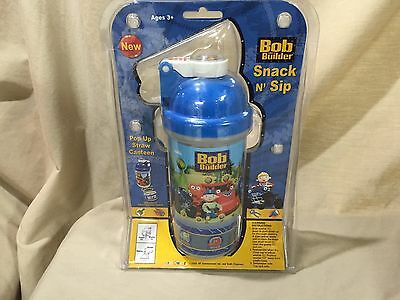 Bob the Builder Pecoware Snack and Sip Pup Up Straw Canteen Water Bottle Cup