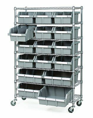 16 Bins Rack Parts Hardware Office Restaurant Tools Rolling Storage System Kit