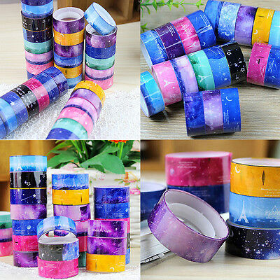 10pcs 1.5cm DIY New Design paper Sticky Adhesive Sticker Decorative Washi Tape