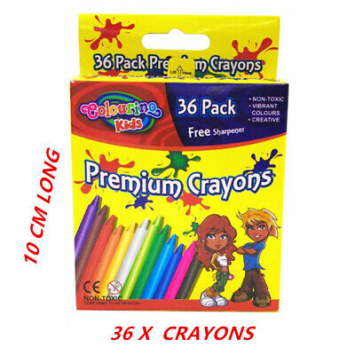 36 Pce Crayon Crayons With Free Sharpener -36 Assorted Vibrant Colors Kid Craft
