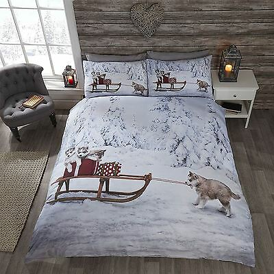 Husky Dogs Huskies Christmas Winter Snow Festive Childrens Bedding - Single
