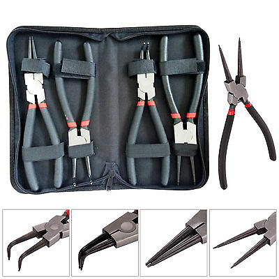 "4pc 9"" Circlip Pliers Internal External Straight Bent Snap Ring Workshop Tools"