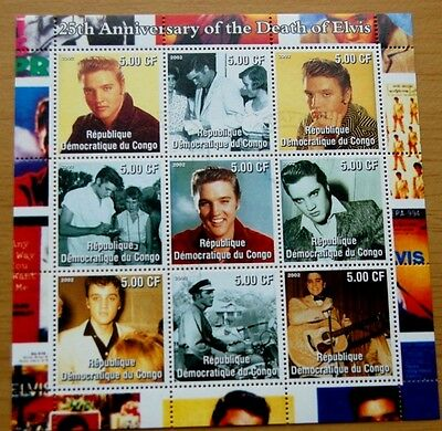 25th Anniversary Of Death Of Elvis Presley 2002 DR Congo Stamp Sheet VFU #