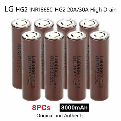 8 x LG HG2 INR18650-HG2 3000mAh 20/30A High Drain Rechargeable Lion Battery 3.7V