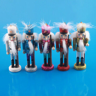 12cm Set of 6pcs Wooden Nutcracker Bling Bling Solider With Hanging Strap