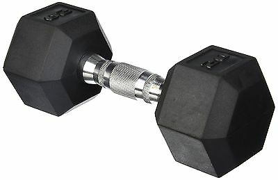 Cap Barbell SDR-015  Rubber Coated Hex Dumbbell with Contoured Chrome Handle