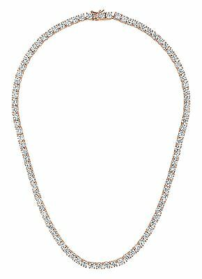 C.Z. Sterling Silver Rose Plated 4mm Round Prong Tennis Necklace