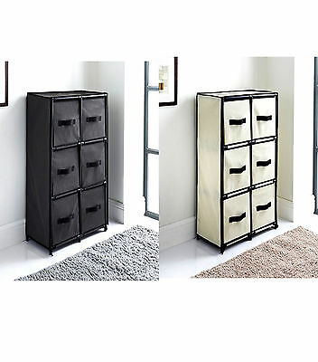 NEW Canvas 6 Chest of Drawer Bedroom Furniture Storage Cabinet Unit Organiser