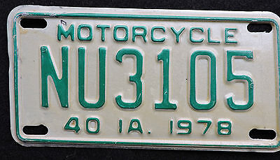 1978 Iowa Motorcycle License Plate