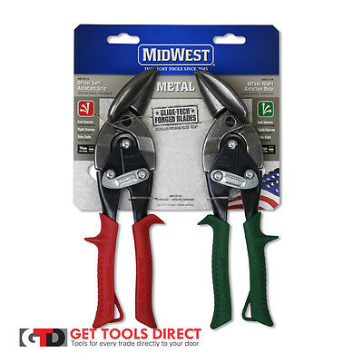 New Midwest 2 Piece Offset Aviation Snips Set P6510-R Right And P6510-L Left