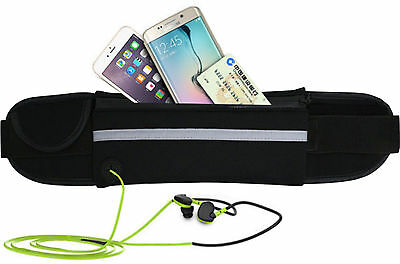 Unisex Black Waist Belt Bum Bag Jogging Running Travel Pouch Keys Mobile Cash