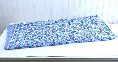 """Vintage 60s Double Knit Fabric Polyester Blue Pink Aqua White Circles 42""""x67"""""""