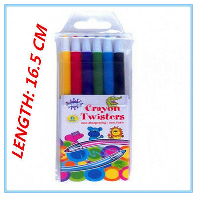 6 Pack Propelling Twist Colour Crayons Assorted Vibrant Colours Non Toxic