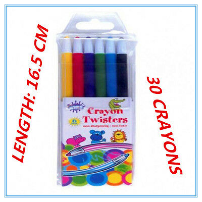 30 Pack Propelling Twist Colour Crayons Assorted Vibrant Colours Non Toxic Fw
