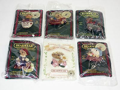 Boyds Bear Pins Lot Collection of 6 - Includes 5 Bearwear and 1 Floral