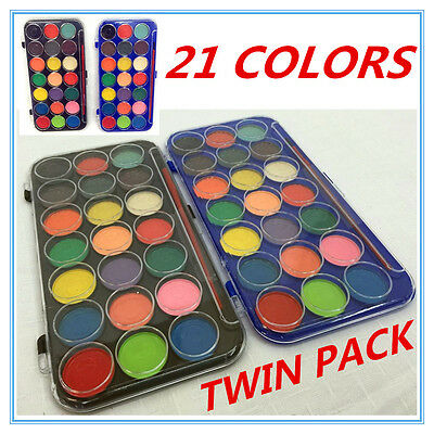 Twin Pack Water Colour Color Paints W Paint Brush Applicator 21 Assorted Colors