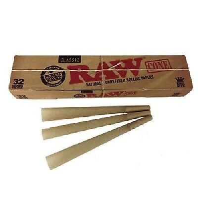 RAW Classic New Mega Pack 32 Cones King Size Pre Rolled Natural Rolling Paper