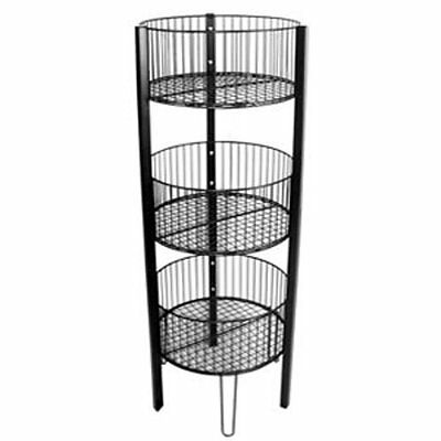 "3 Tier Black Round Bin Display Retail Store Fixture 17""D x 46 1/4""H x 7""D NEW"