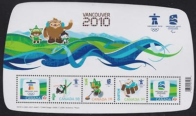 Canada 2009 - Souvenir Sheet #2305f Olympic Emblems and Mascots with Overprint