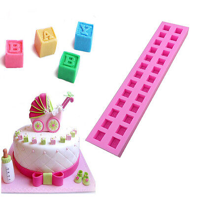 Hot English Letters 3D Baby Building Block Fondant Cake Molds Chocolate Mold