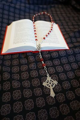 Anglican Rosary Protestant Prayer Beads Episcopal Necklace Handmade Red