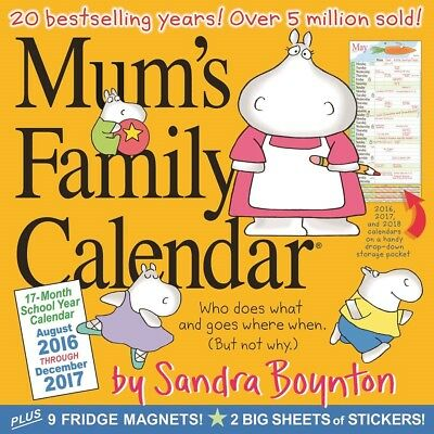 Mums Family Calendar Official 2017 Stickers and Fridge Magnets Included