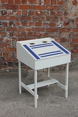 Painted White And Navy Blue Small Old School Child's  Kids Desk With Storage