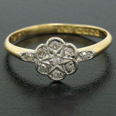 Antique Victorian 18K Yellow Gold Old Mine Cut Diamond Cluster Flower Ring Sz6.5