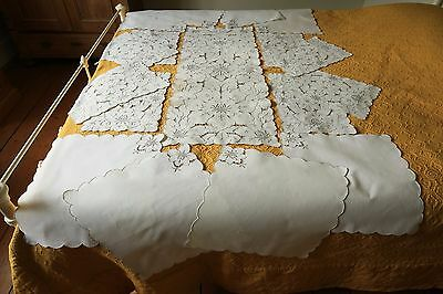 Vintage Linen Madeira Tablecloth / Runner And Napkin Set Hand Embroidered Floral