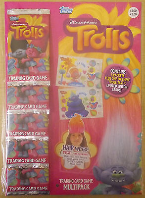 Trolls Dreamworks Movie ~ Topps Trading Cards Collection Multipack Inc 5 Packs