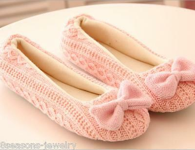 New Women Ladies Home Indoor Soft Winter Warm Slippers Outsole Bow Shoes