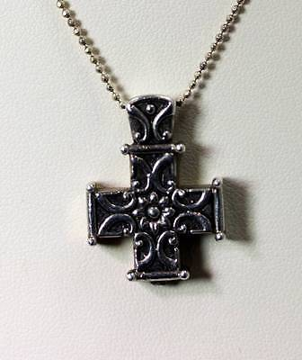 """Sterling Silver Floral Cross Pendant with a 17"""" Italian Beaded Chain - 6454"""
