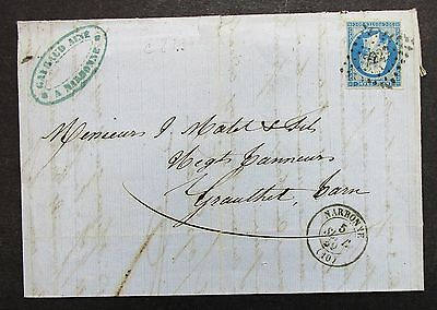 France Cover Narbonne 1859 Frankreich Brief (G-7691
