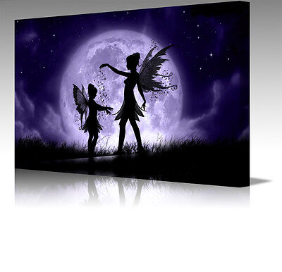 "Fantasy Fairies Fairy Dust Moon 16x12"" Modern Framed Canvas Art Picture Print"