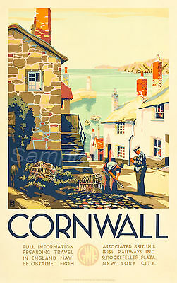 Cw02 Vintage Cornwall Great Western Railway Gwr Uk Travel A4 Poster Print
