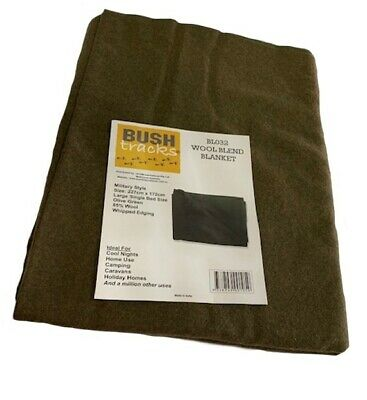 OUTBACK OLIVE DRAB 90% Wool Blanket 157 x 203cm MILITARY Camping EMERGENCY CADET