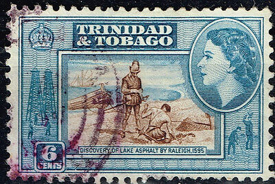 Trinidad and Tobago Oil Petroleum Asphalt Lake Discovery stamp 1955