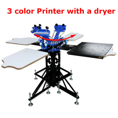 3 Color Silk Screen Printing Machine 4 Station Press Printer Dryer Equipment