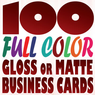100 Full Color Custom BUSINESS CARD Printing on a 16pt UV Gloss or Matte Finish