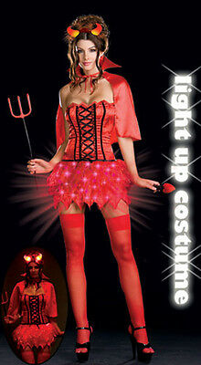 Dreamgirl 6498 NEW Light Up Red Devil Cosplay Halloween Costume Cosplay USA