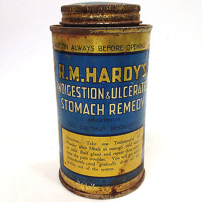 Vintage Medical R.M. HARDY'S Indigestion & Ulcerated STOMACH REMEDY TIN