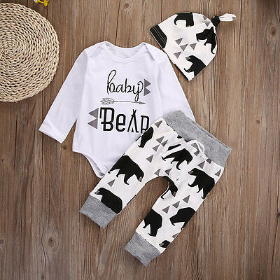 3PCS Set Newborn Infant Baby Girls Boy Romper Leggings Sleep Hat Outfits Clothes