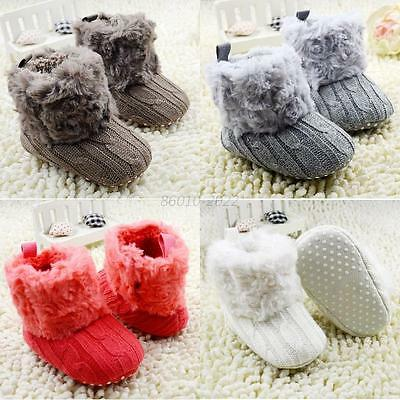 Baby Kids Girls Winter Warm Fleece Knit Snow Boots Booties Crib Shoes 0-18Months
